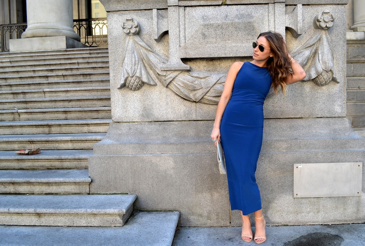 bodycon dress, blue bazzul, shoppalu, nude sandal heels, ray ban sunglasses