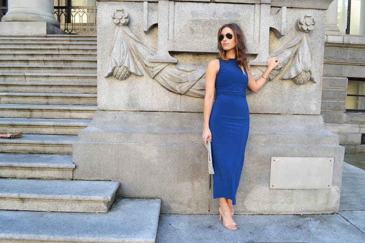 bodycon dress, blue bazzul, shoppalu, nude sandal heels, ray ban sunglasses2