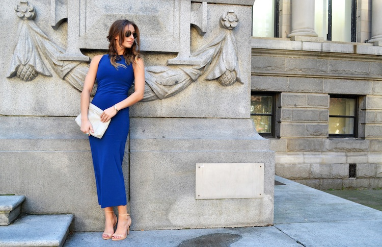 bodycon dress, blue bazzul, shoppalu, nude sandal heels, ray ban sunglasses3