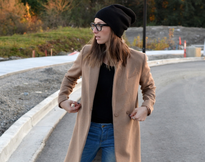 camel coat, fall fashion must have, black beanie, red converse, distressed denim, celine glasses, casual weekend outfit