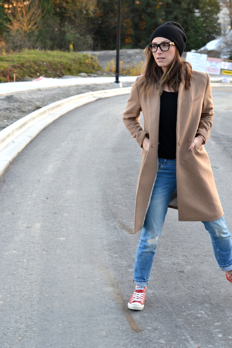 camel coat, fall fashion must have, black beanie, red converse, distressed denim, celine glasses, casual weekend outfit1