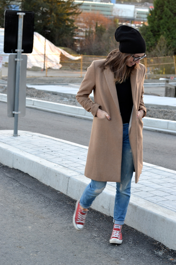 camel coat, fall fashion must have, black beanie, red converse, distressed denim, celine glasses, casual weekend outfit2