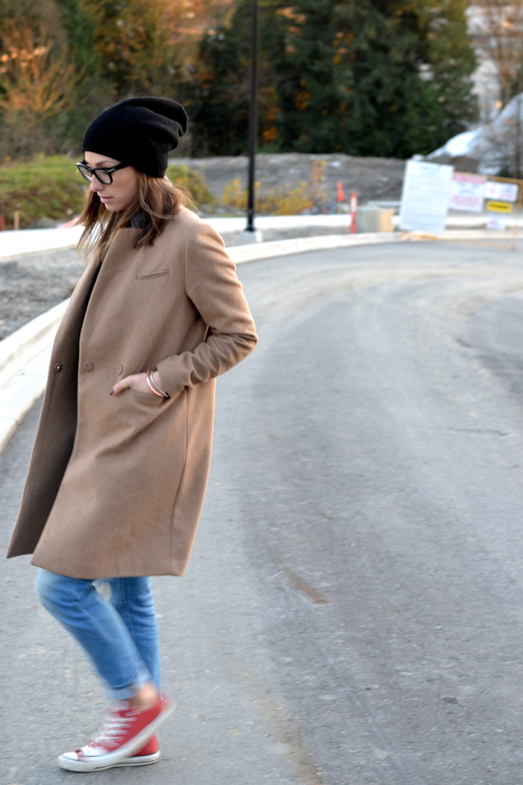 camel coat, fall fashion must have, black beanie, red converse, distressed denim, celine glasses, casual weekend outfit3