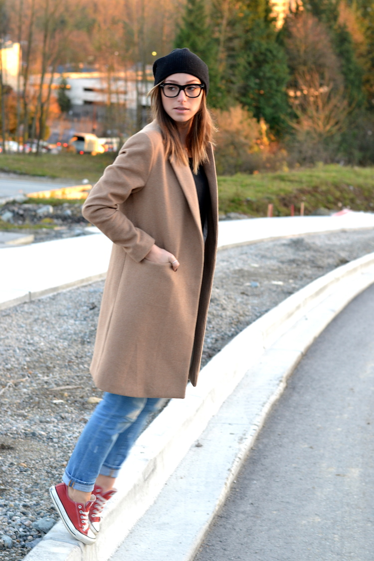 camel coat, fall fashion must have, black beanie, red converse, distressed denim, celine glasses, casual weekend outfit4