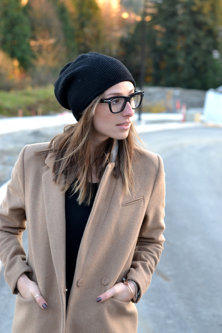 camel coat, fall fashion must have, black beanie, red converse, distressed denim, celine glasses, casual weekend outfit5