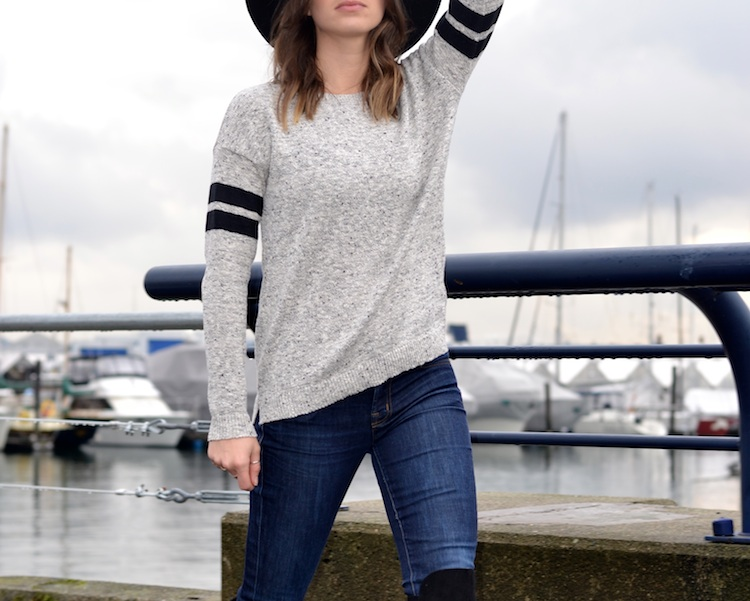 fi-forever 21 over the knee black boots, sport chic sweater, asos hat, j brand skinny jeans, french chic casual outfit, waterfront scenery