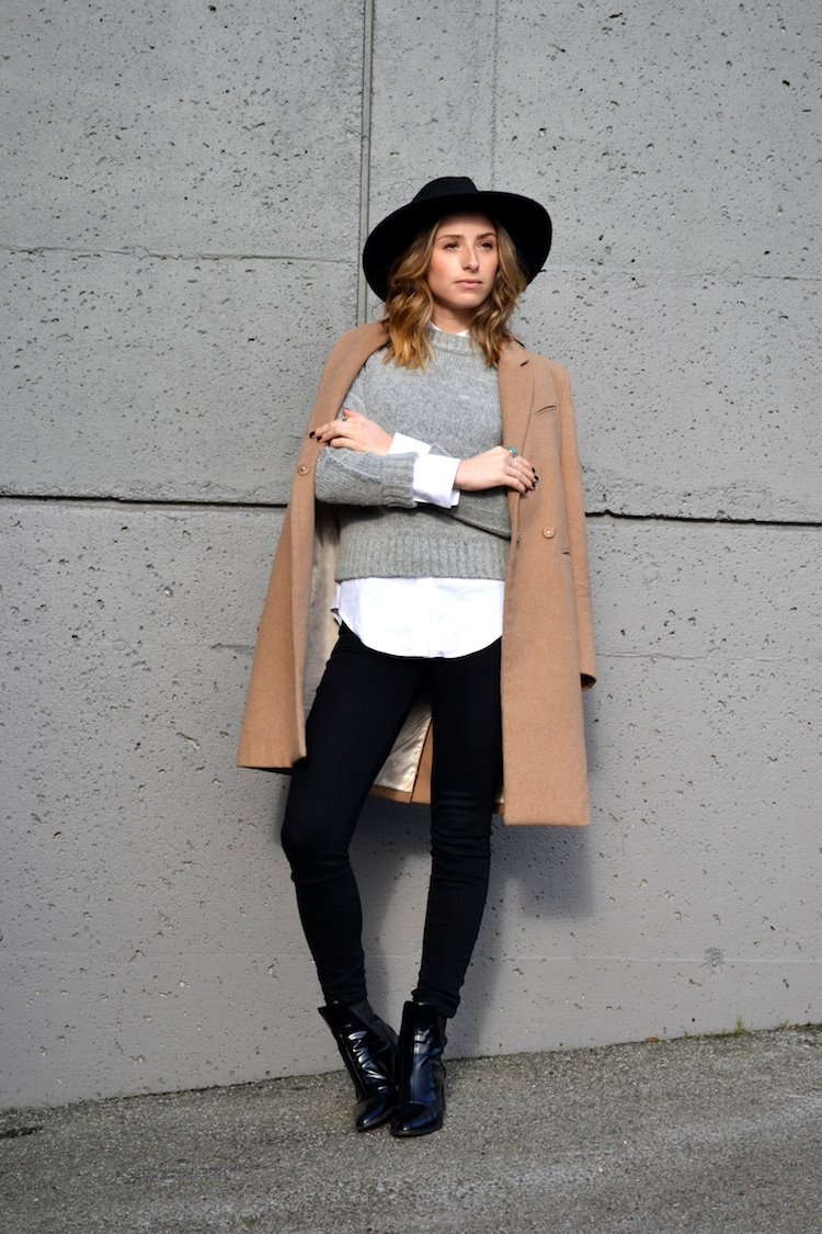 grey sweater, white zara blouse, camel coat, winter must have, fedora hat, black jeans, top vancouver fashion and style blog, ombre hair, booties