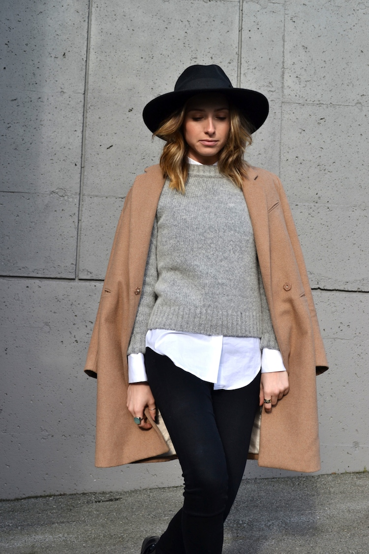 grey sweater, white zara blouse, camel coat, winter must have, fedora hat, black jeans, top vancouver fashion and style blog, ombre hair, booties2