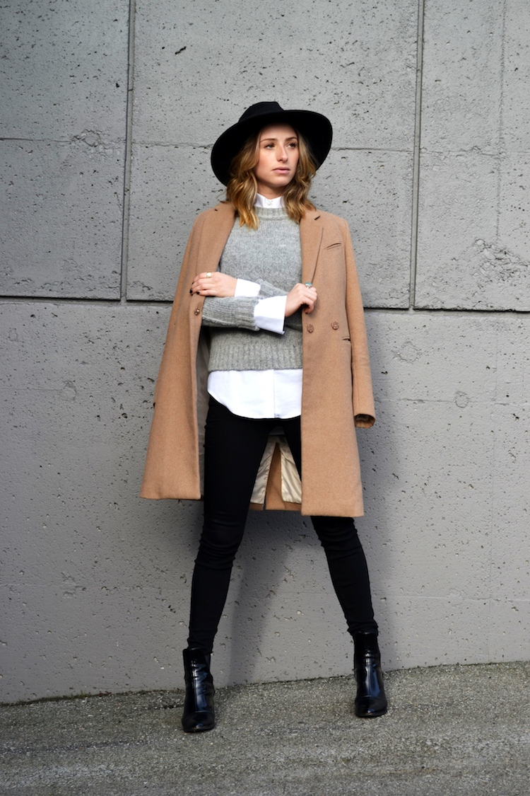 grey sweater, white zara blouse, camel coat, winter must have, fedora hat, black jeans, top vancouver fashion and style blog, ombre hair, booties4