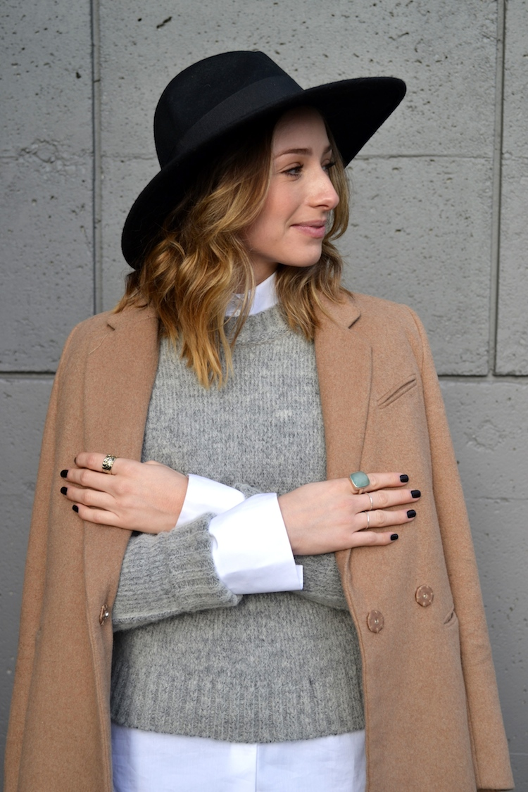 grey sweater, white zara blouse, camel coat, winter must have, fedora hat, black jeans, top vancouver fashion and style blog, ombre hair, booties5