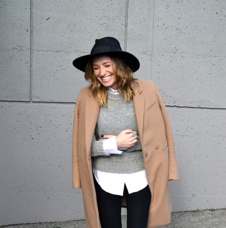 grey sweater, white zara blouse, camel coat, winter must have, fedora hat, black jeans, top vancouver fashion and style blog, ombre hair, booties7
