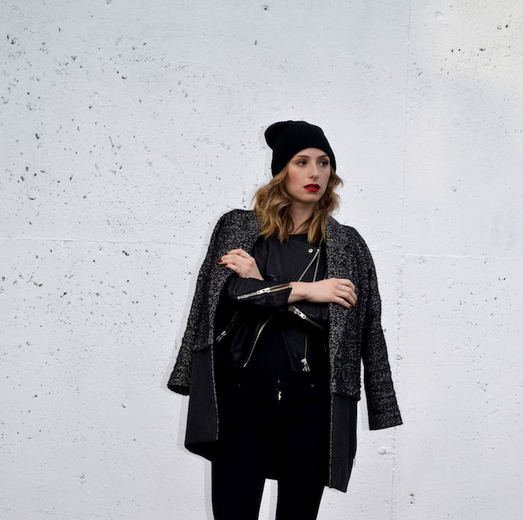 winter chic look, layered jackets and coats, black jeans, hm leather jacket, topshop boyfriend coat, black beanie, mac ruby woo lipstick, pointy toe heeled booties, everyday chic outfit1