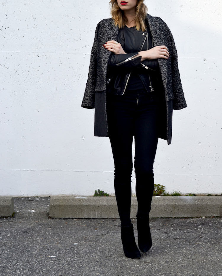winter chic look, layered jackets and coats, black jeans, hm leather jacket, topshop boyfriend coat, black beanie, mac ruby woo lipstick, pointy toe heeled booties, everyday chic outfit3