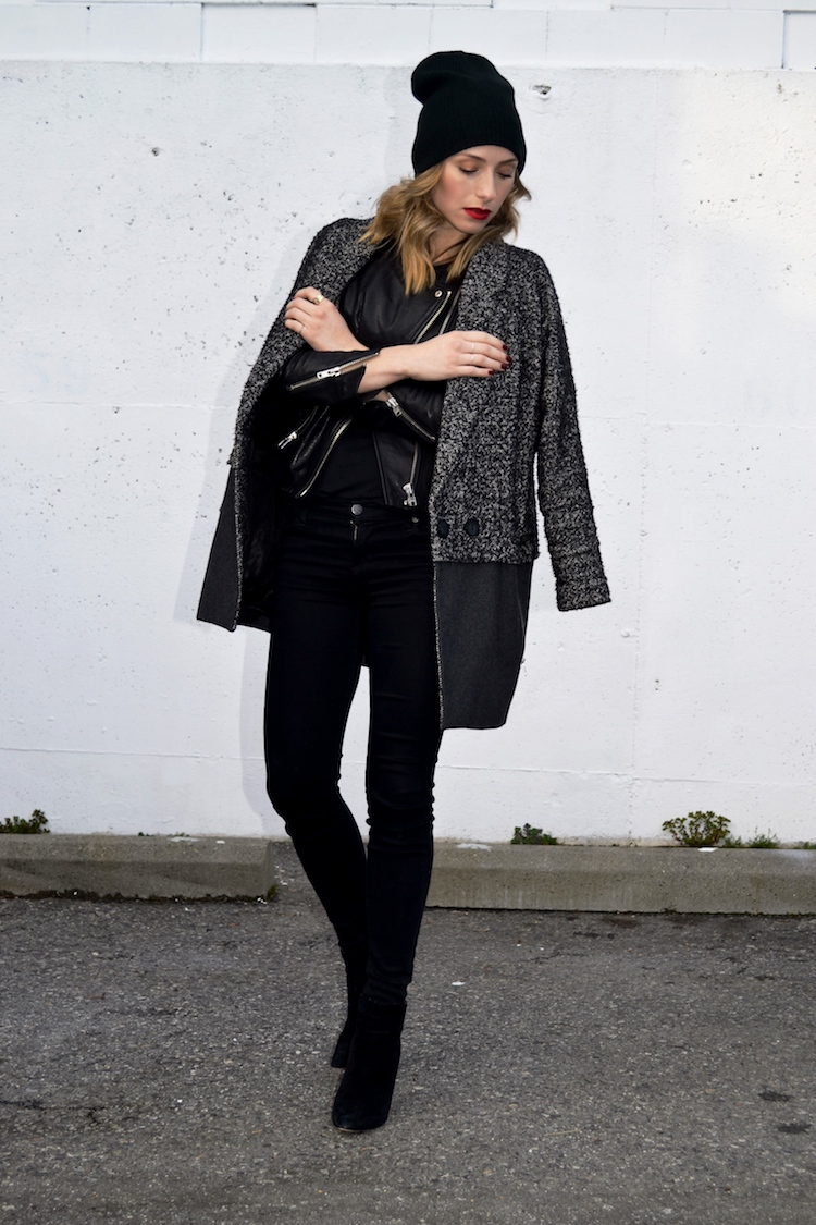winter chic look, layered jackets and coats, black jeans, hm leather jacket, topshop boyfriend coat, black beanie, mac ruby woo lipstick, pointy toe heeled booties, everyday chic outfit