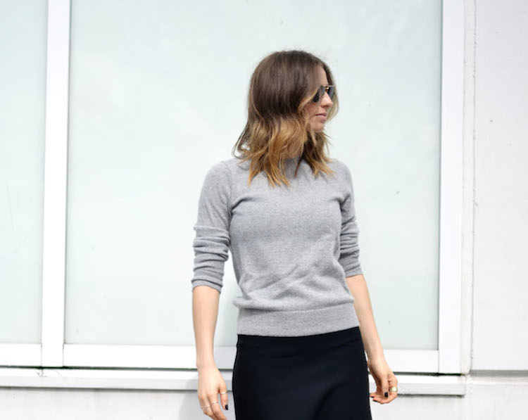 fi-grey cashmere sweater, joe fresh, black midi skirt, mules, euro inspired style, the august diaries, ombre hair, vancouver style blog