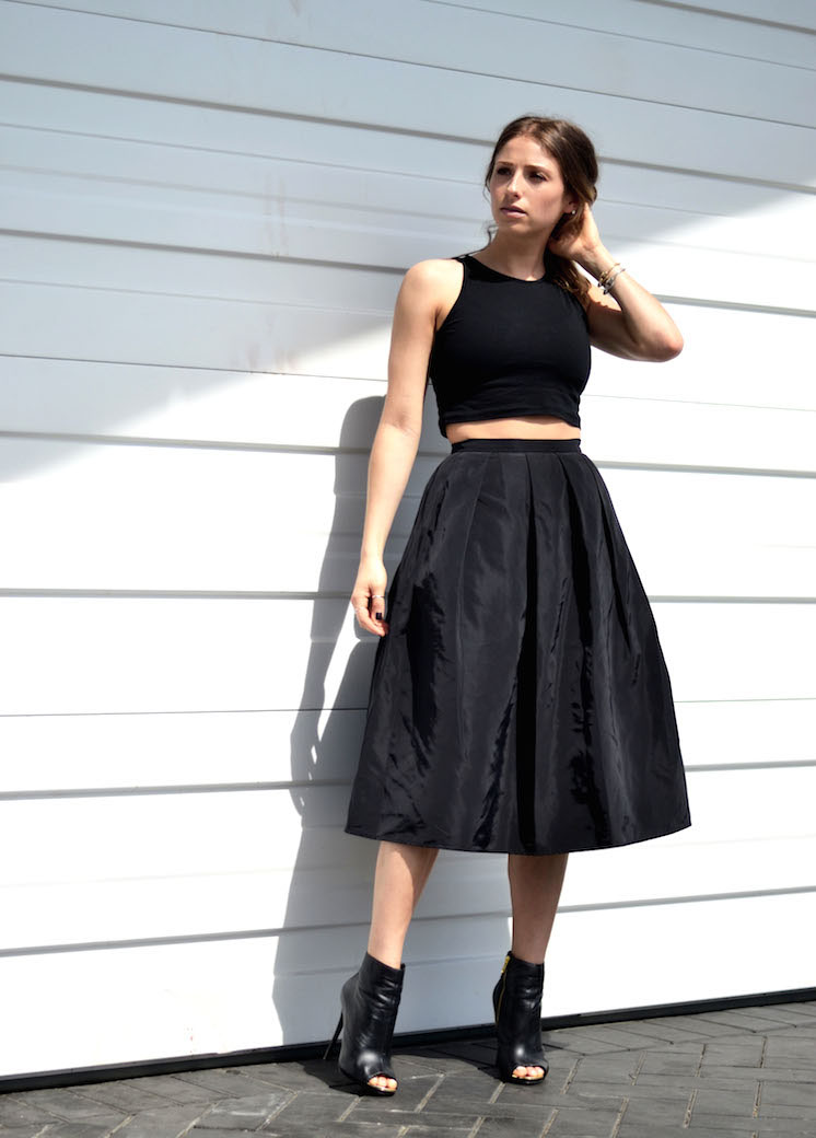 Black Crop Top And Midi Skirt - Skirts
