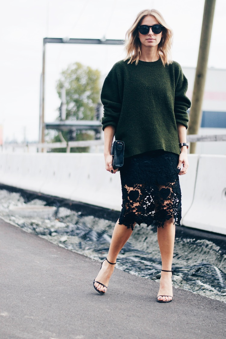 lace skirt pencil chic going out look