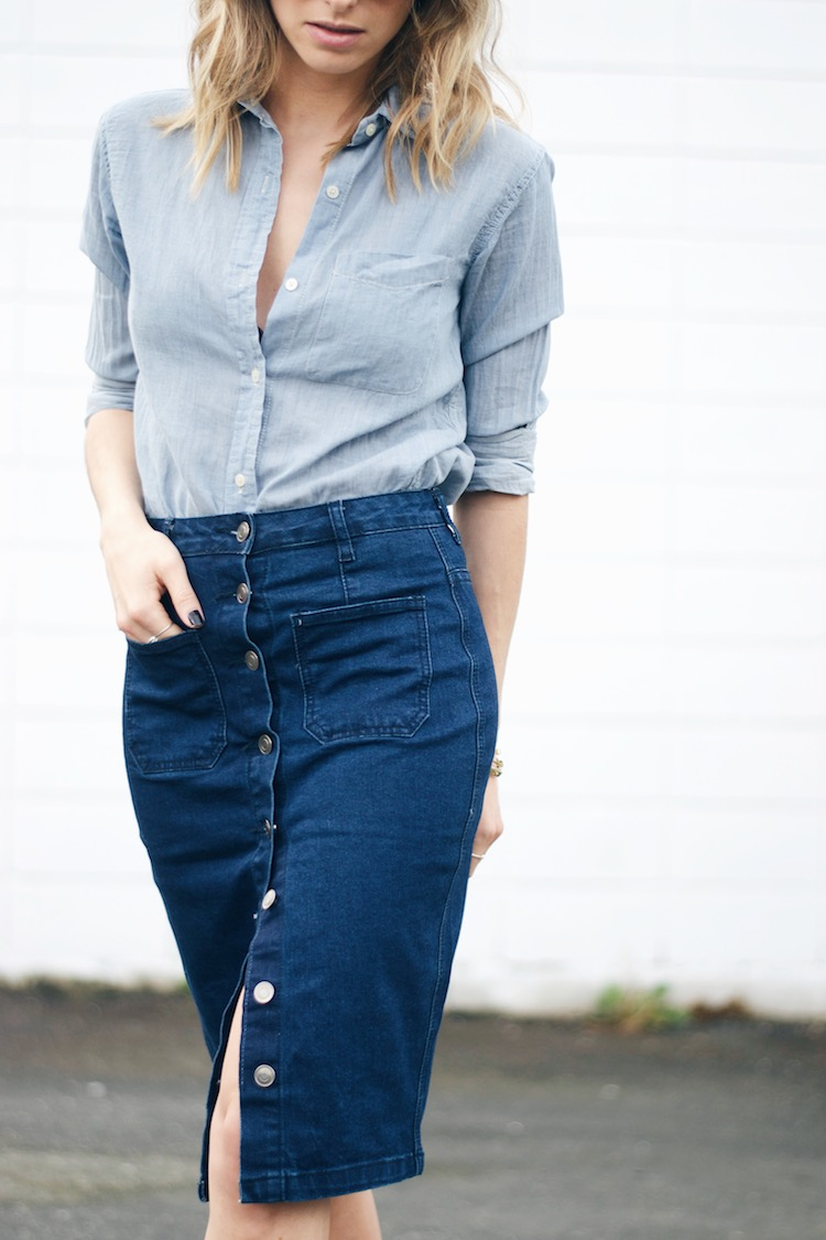 Denim squared 70s inspired skirt trend