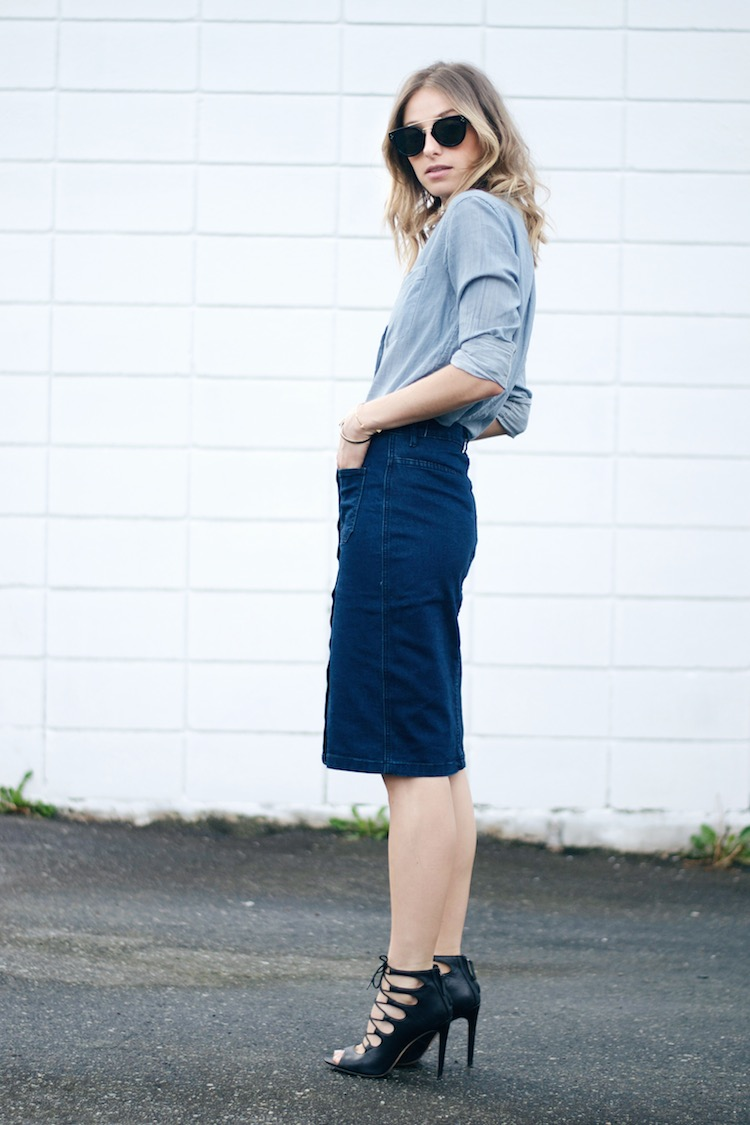 70s denim trend skirt, chambray shirt, lace up sandals