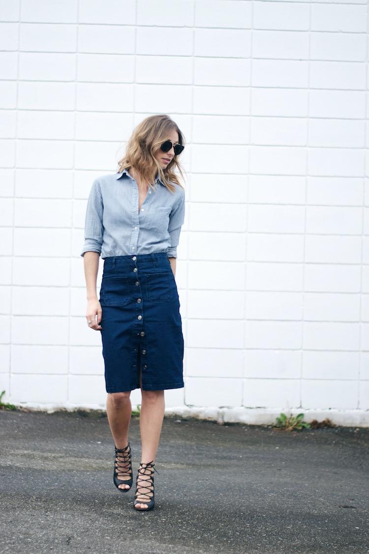 70s denim trend skirt, chambray shirt, celine sunglasses, street style