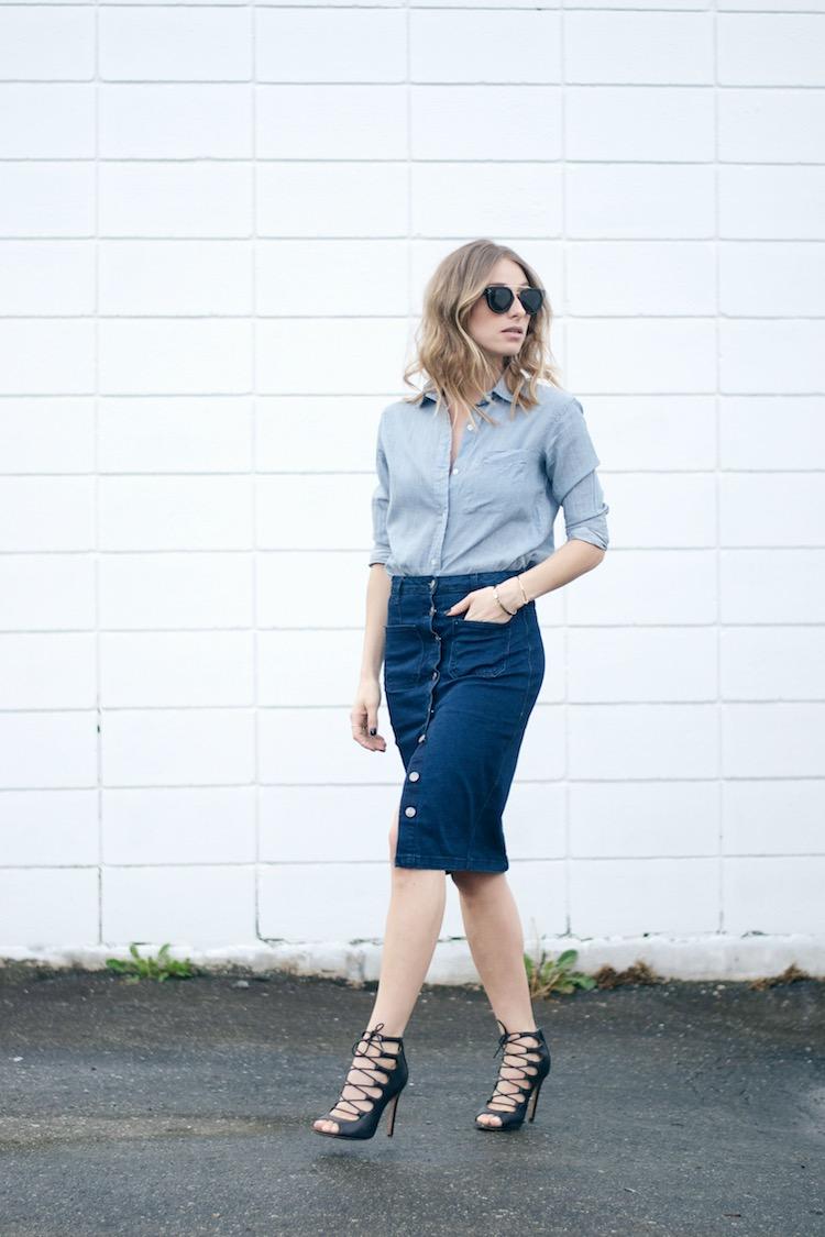 70s denim trend skirt, chambray shirt, celine sunglasses
