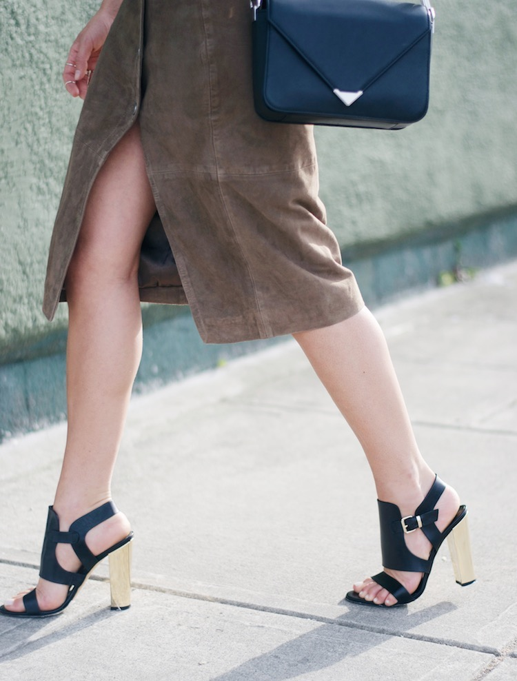 allsaints suede skirt, tank, 70s style, summer, pacific centre, gladiator sandals