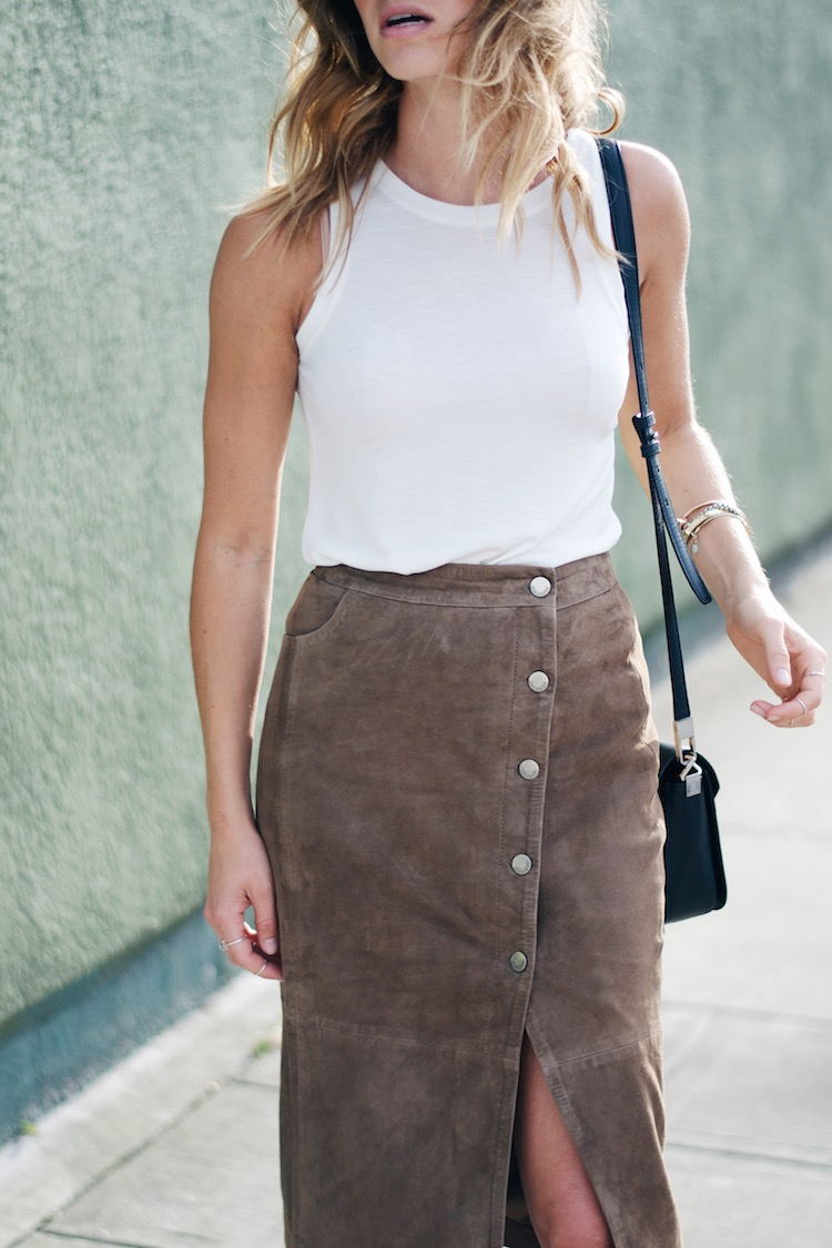 allsaints suede skirt, 70s style, summer, pacific centre, beachy waves
