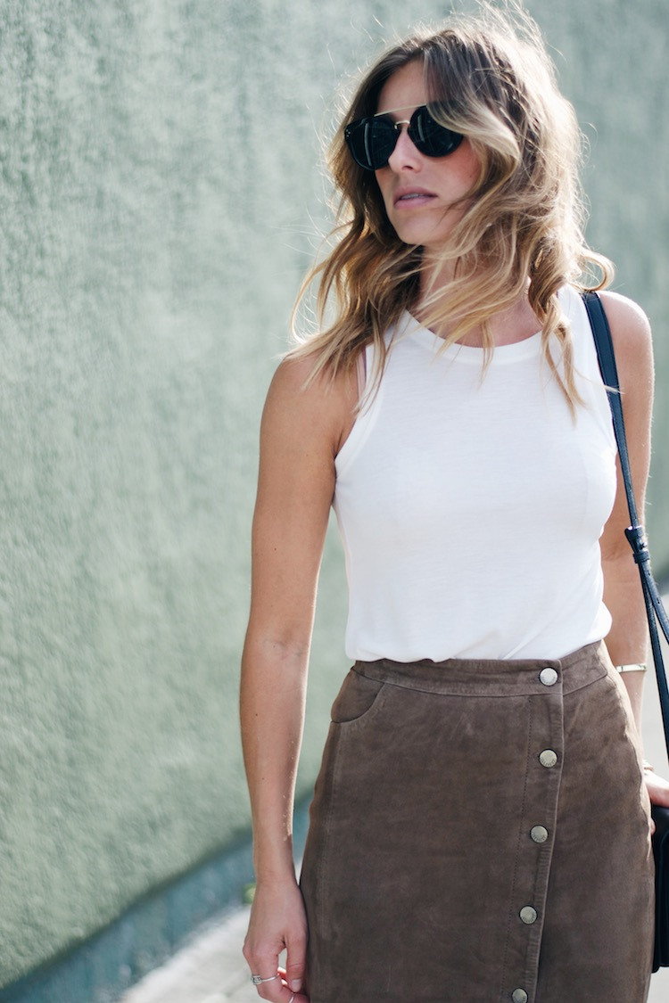 allsaints suede skirt, tank, 70s style, summer, pacific centre, celine sunglasses, beachy waves