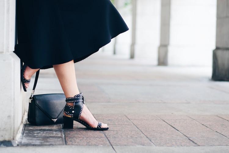 black midi skirt, isabel marant jaeryn sandals