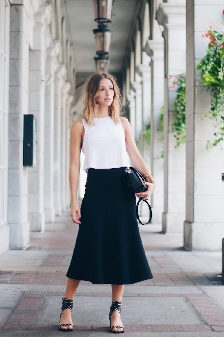 black midi skirt, white crop top, isabel marant sandals
