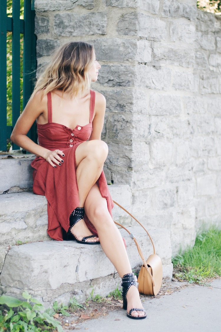 red free people dress, isabel marant jaeryn sandals