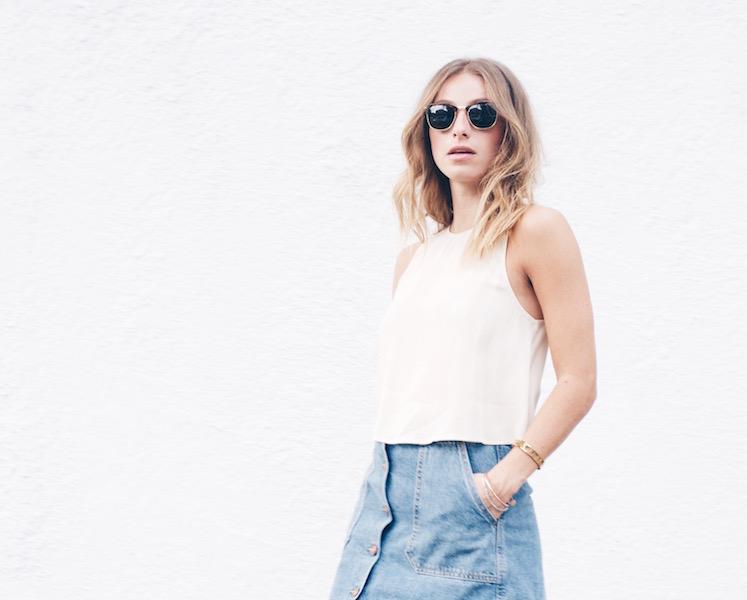70's inspired outfit, denim skirt
