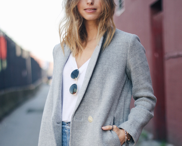 grey coat, fall winter street style