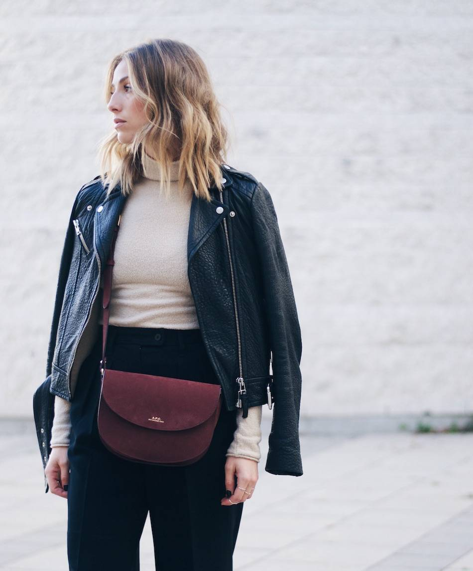 what to wear to fashion week turtleneck leather jacket