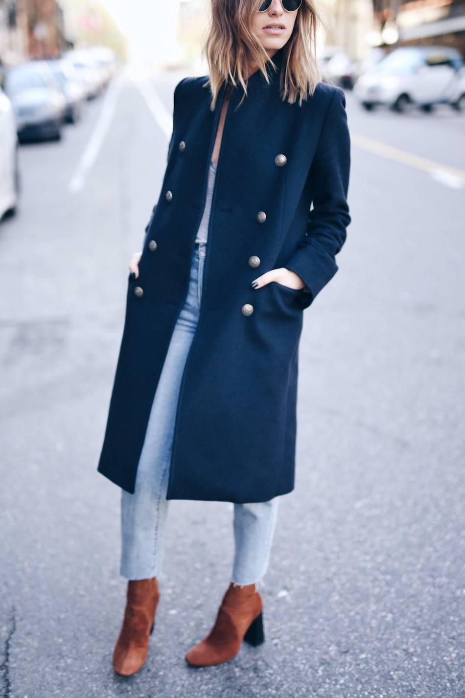 brown suede boots, navy coat