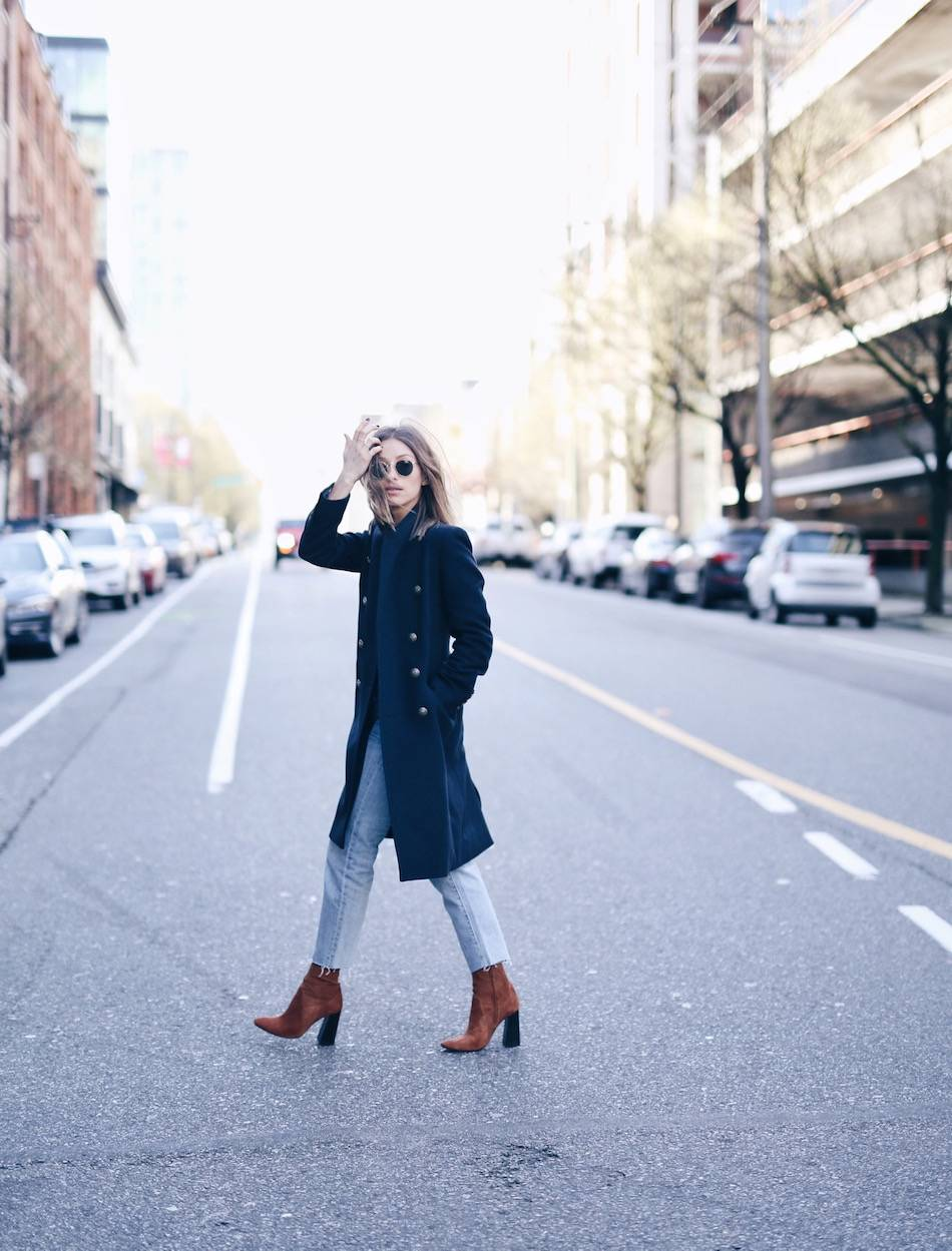 jeans brown suede boots with coat