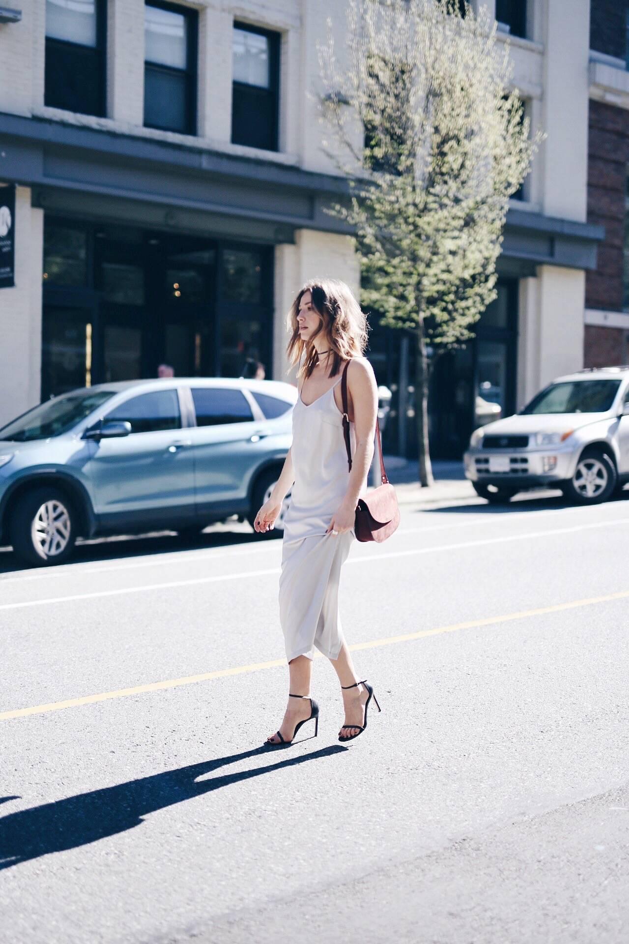 express silver slip dress