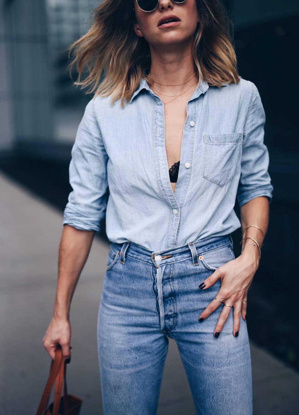 madewell chambray shirt with black lace bra