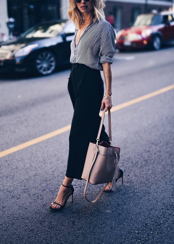 striped shirt, culottes, bucket bag
