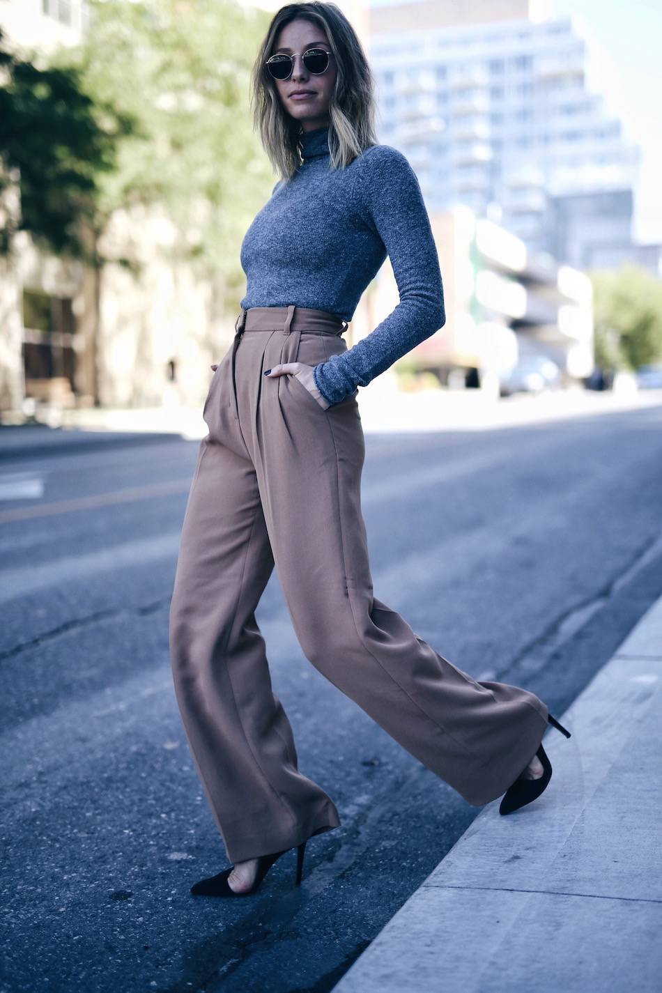 camel trousers with grey turtleneck