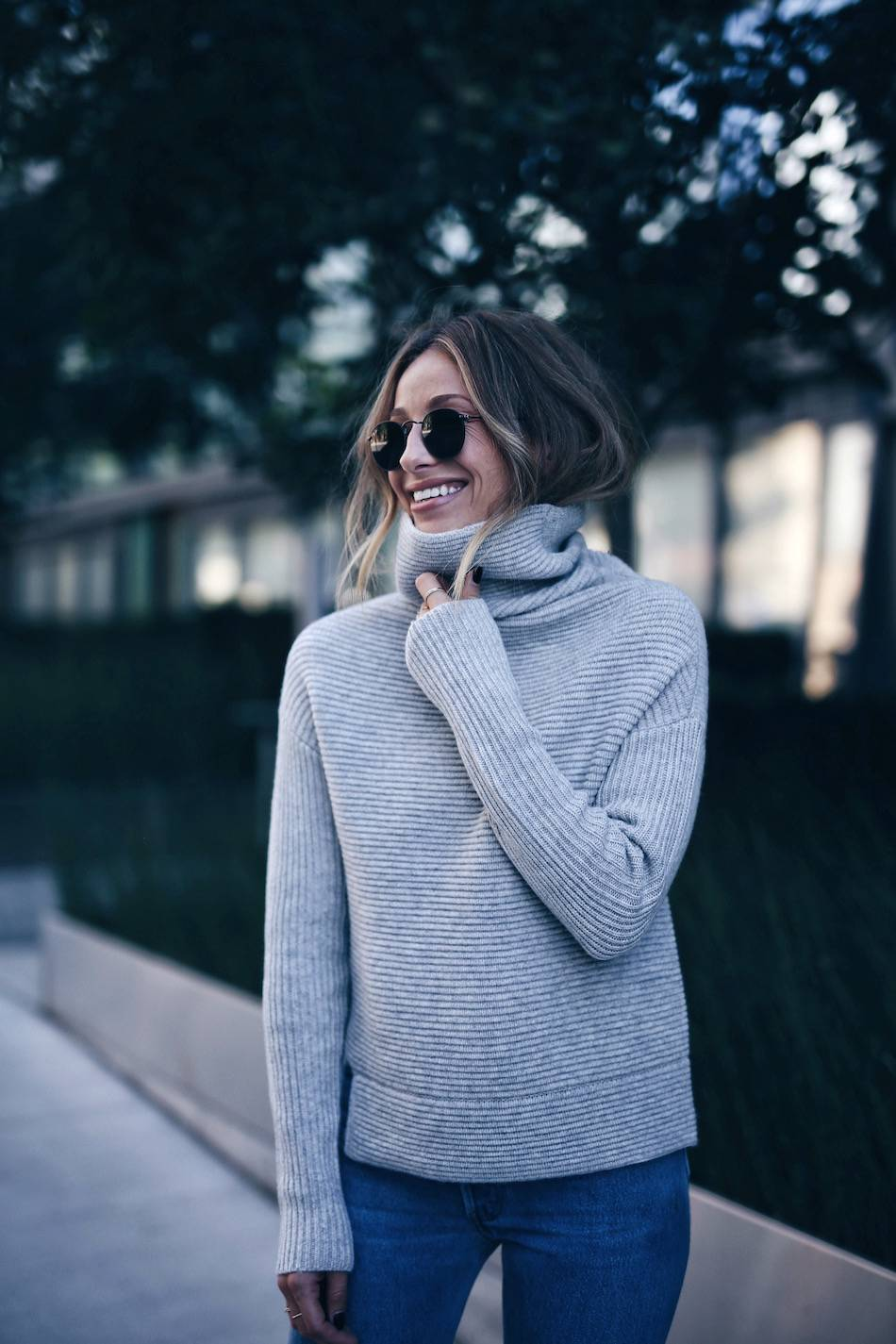 cozy grey turtleneck with jeans