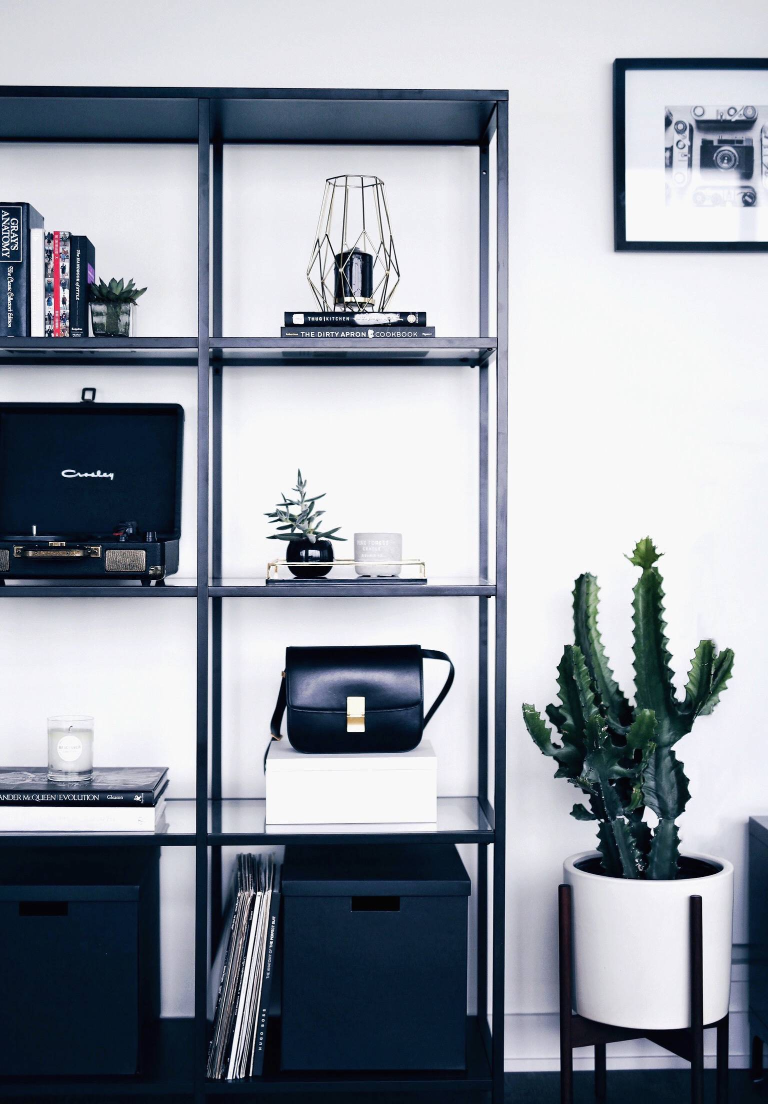 modern and minimalist shelf styling, celine bag