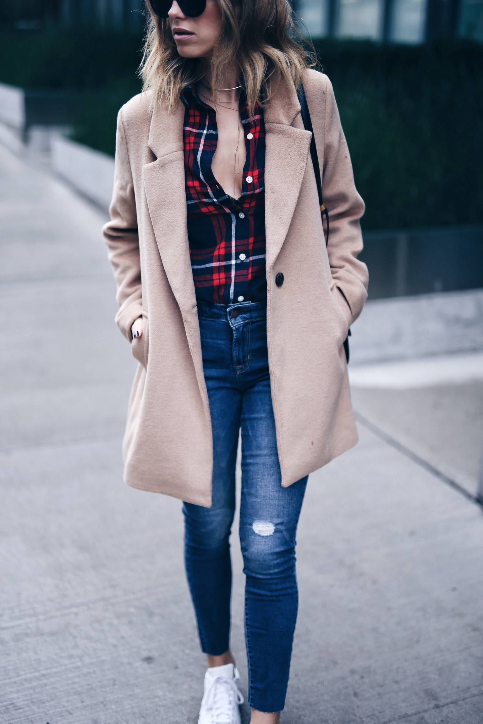 old navy plaid, camel coat, denim