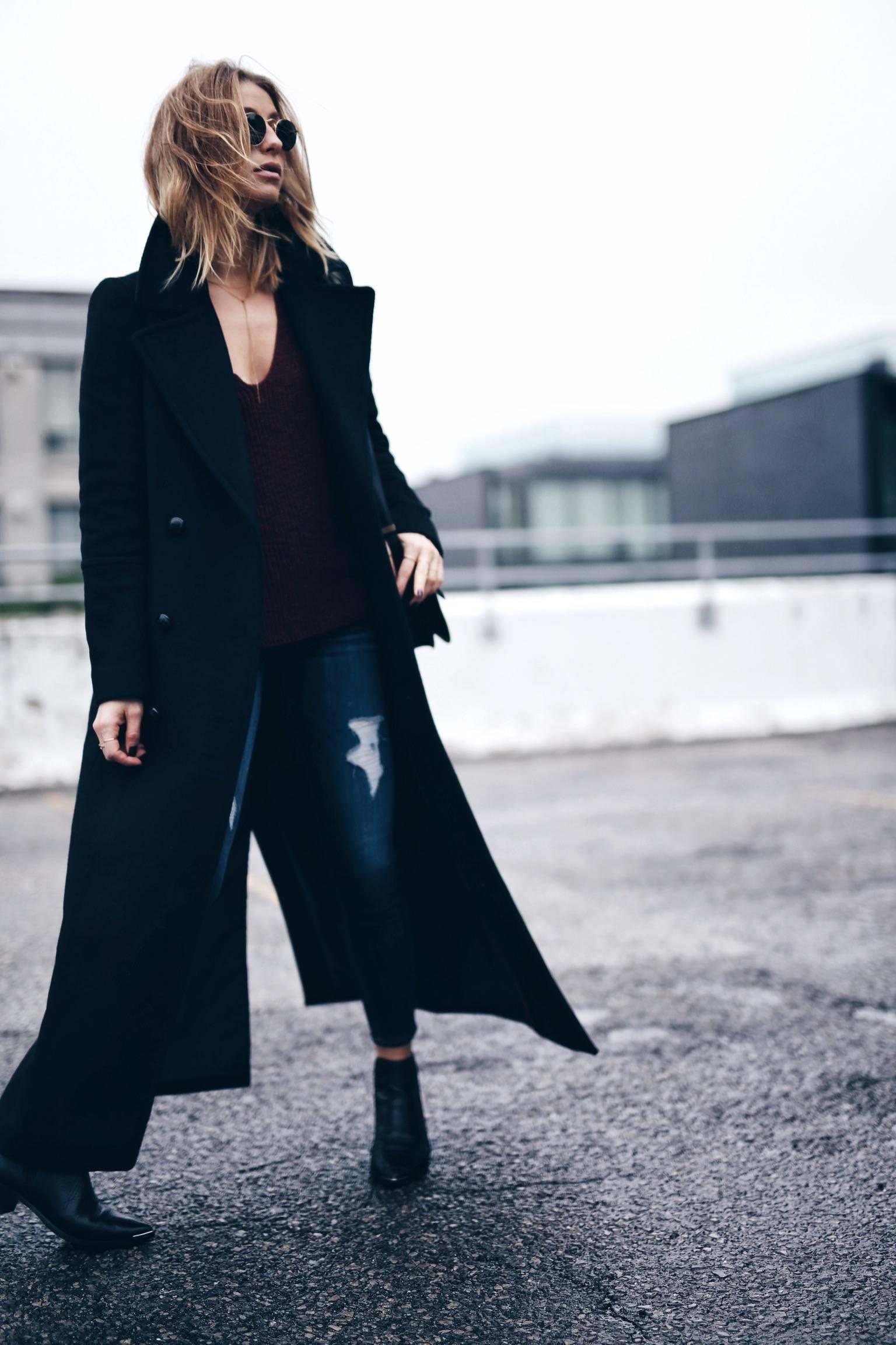black maxi coat, street style