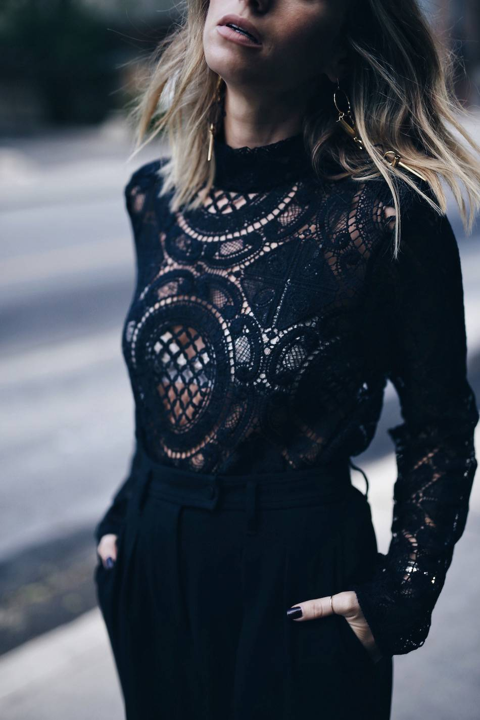 black lace top, statement earrings