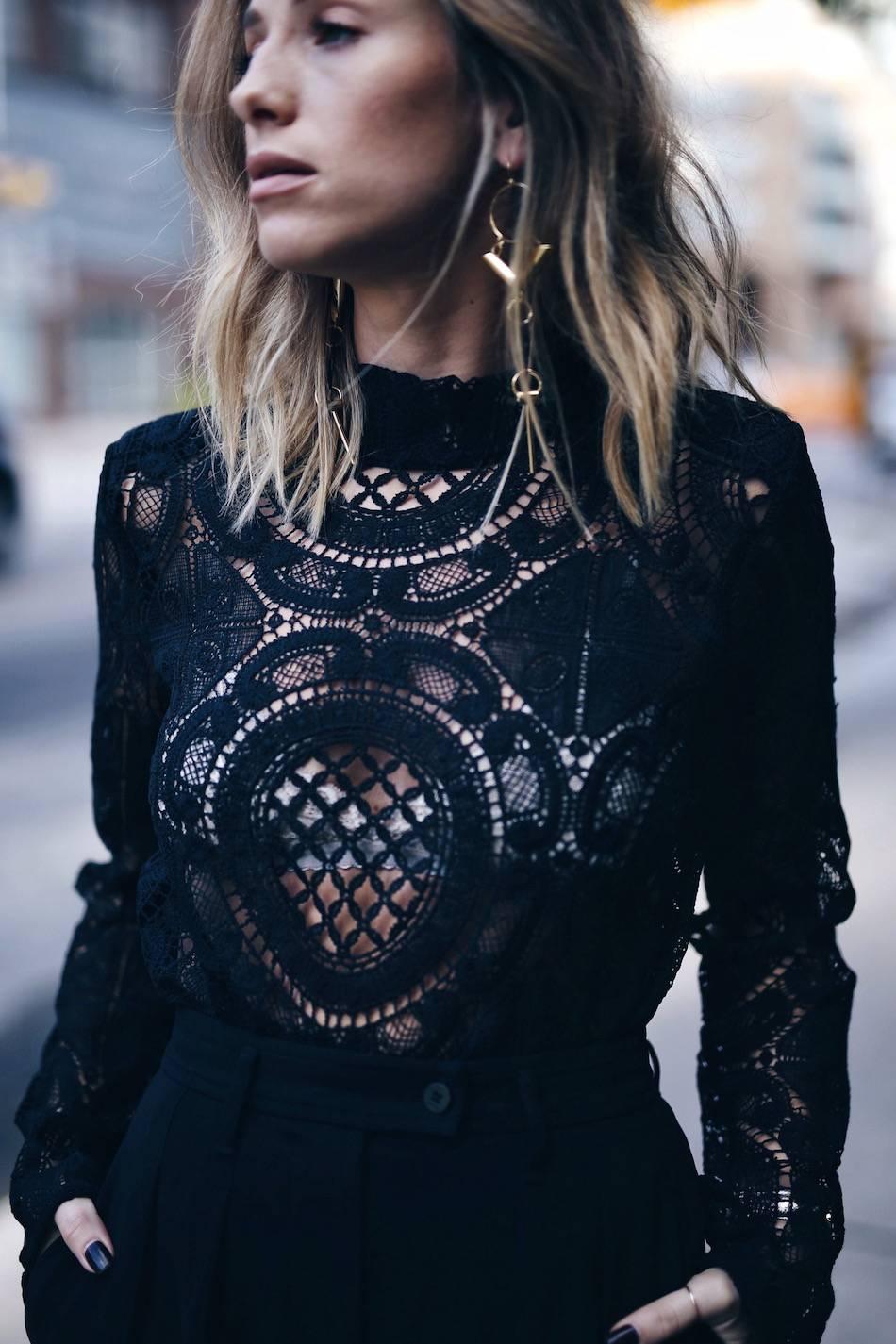black lace top, adia kibur earrings from shopbop