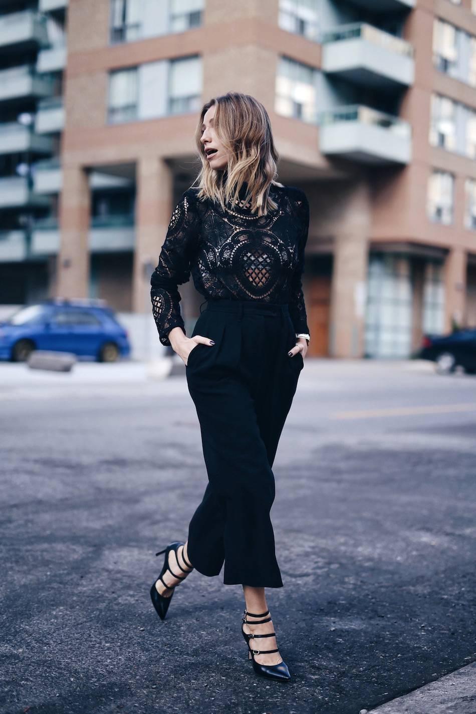 black culottes, lace top, marion parke shoes