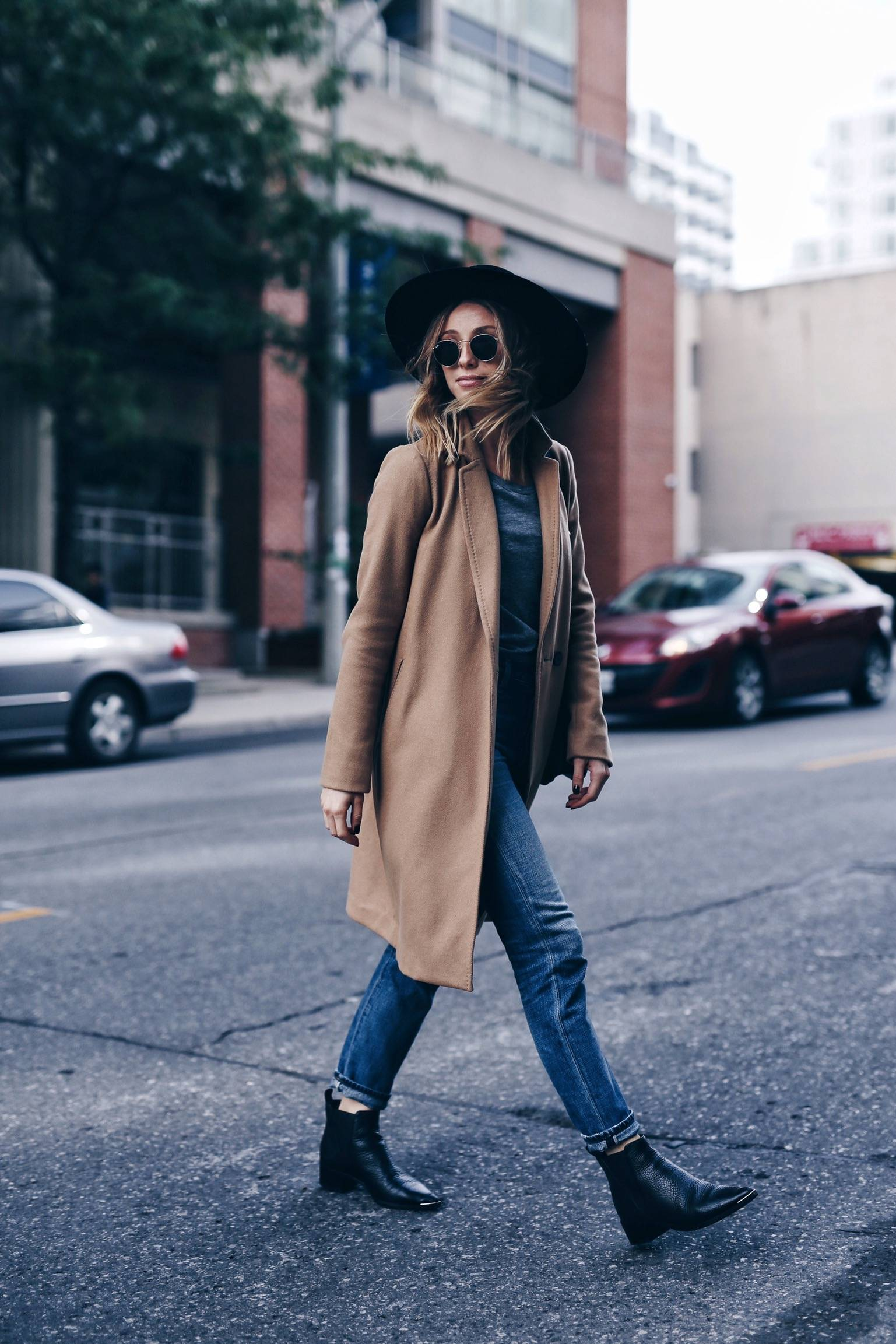 camel coat, chic and effortless street style