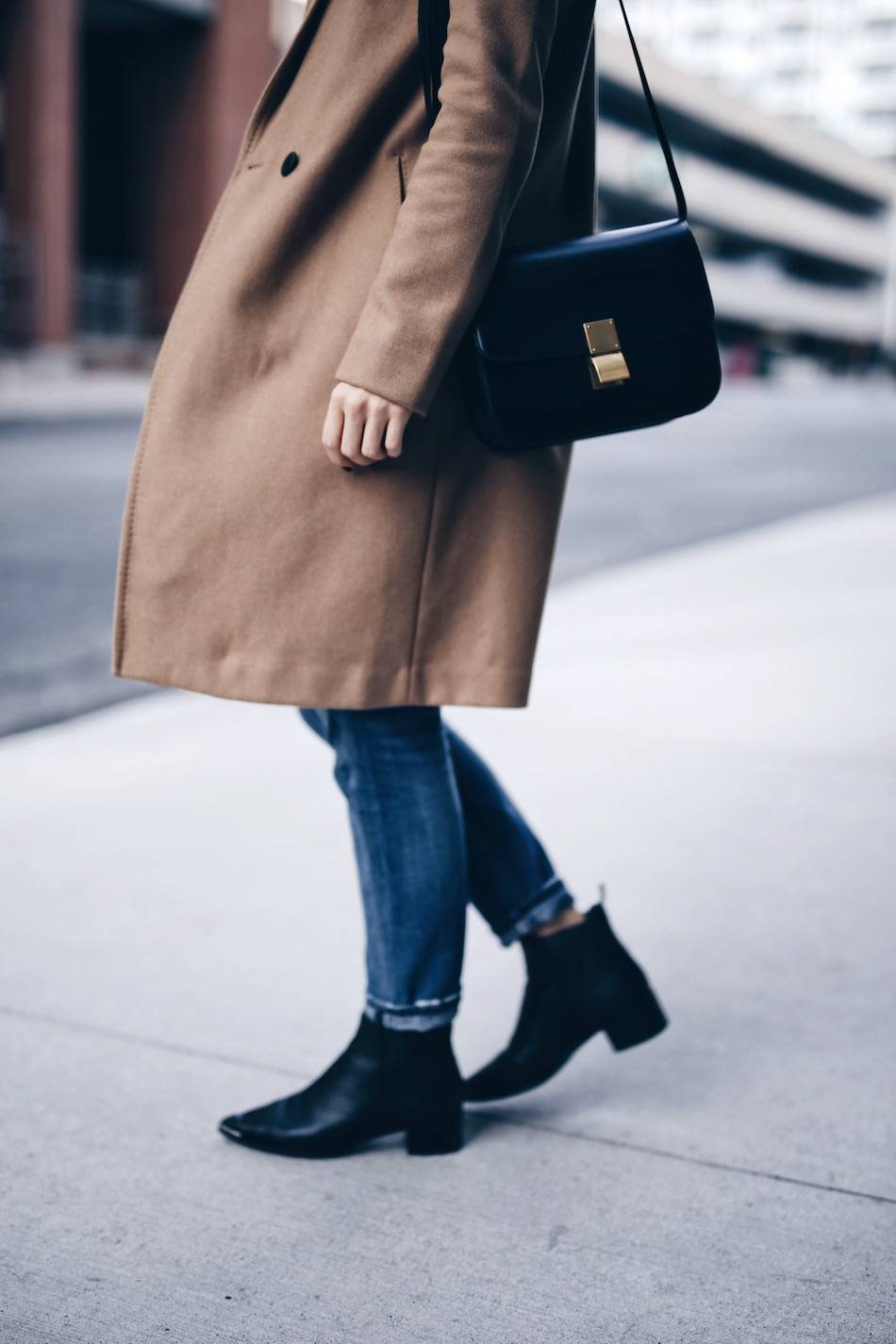 camel coat, celine box bag, acne jensen boots