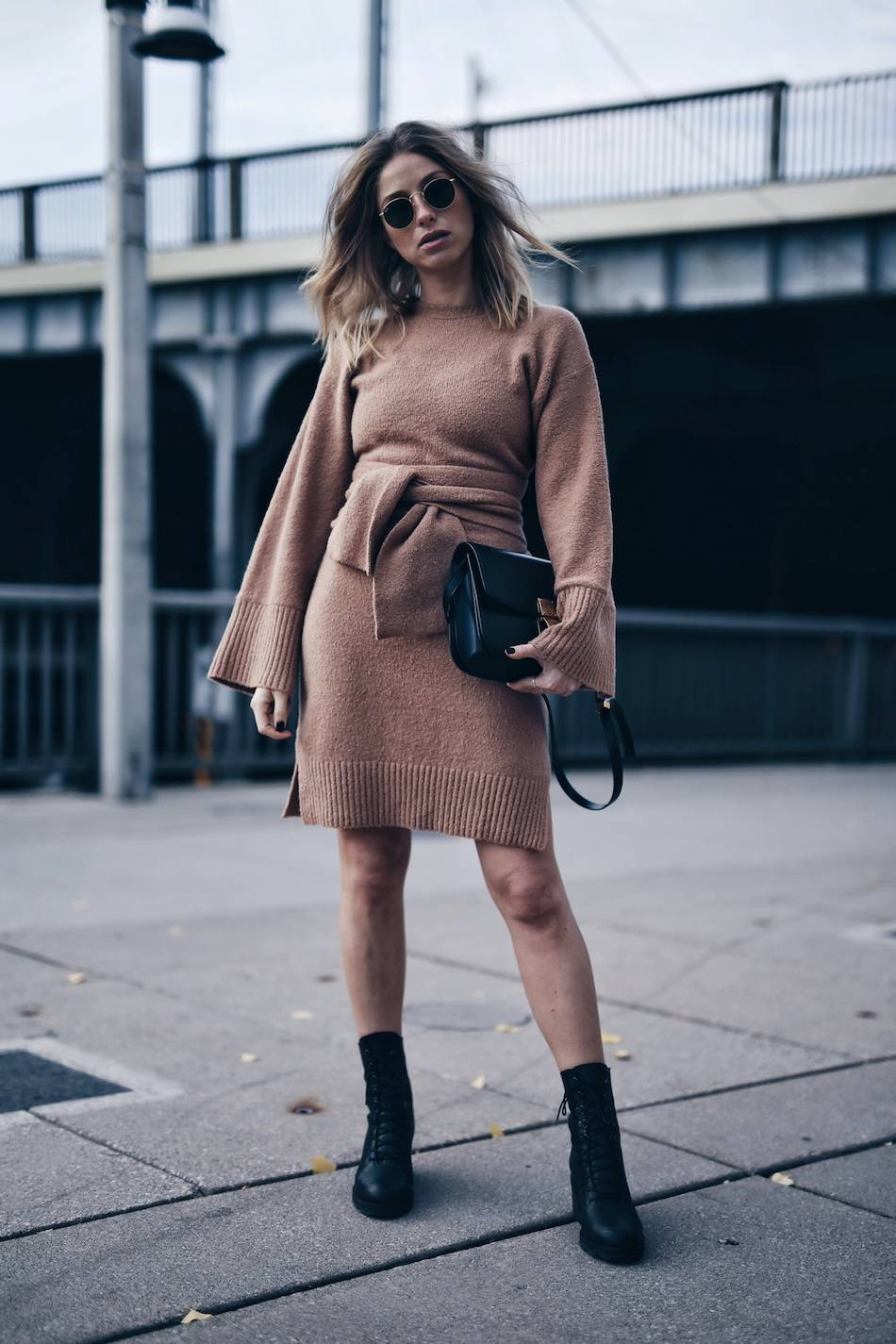 style-and-beauty-blogger-jill-lansky-of-the-august-diaries-wearing-3-1-phillip-lim-wide-sleeve-belted-dress-celine-black-box-bag-and-ld-tuttle-combat-boots